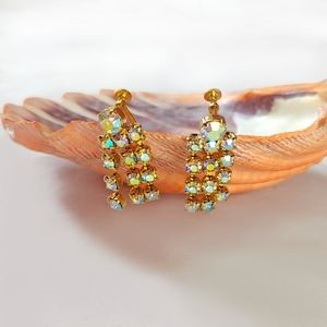 Vintage rhinestone crystal tassel earrings